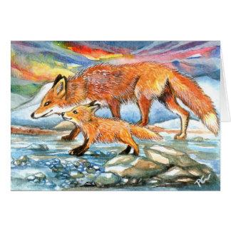 Cartão Raposas que andam pelo Riverbank