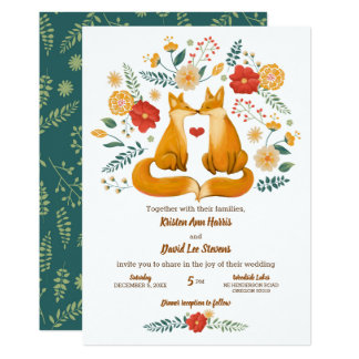 Cartão Raposas românticas e casamento floral rústico da