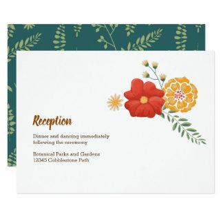 Cartão Raposas românticas e recepção floral rústica da