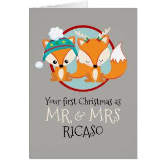 Cartão Raposas vermelhas seu primeiro Natal como o Sr. e