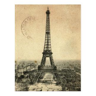 Cartão raro do vintage com a torre Eiffel em Paris