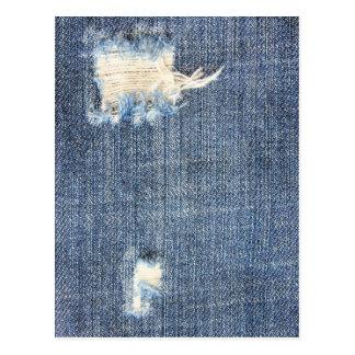 Cartão rasgado do olhar do falso de jeans cartão postal