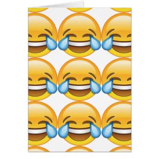 Cartão Rasgos de grito de riso do emoji da alegria