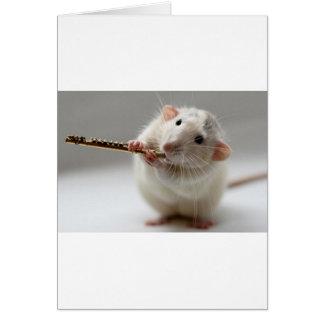 Cartão Rato bonito que joga a flauta