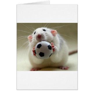 Cartão Rato bonito que joga o futebol