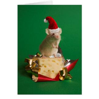 Cartão Rato com o chapéu do papai noel com queijo