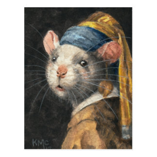 """Cartão """"rato com pintura de um brinco de Yogie"""""""