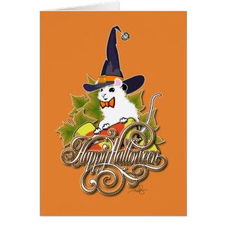 Cartão Rato Witching do branco do tempo do Dia das Bruxas