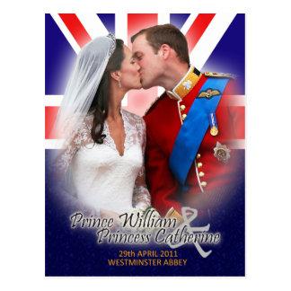 Cartão real do beijo do casamento de William & de  Cartão Postal