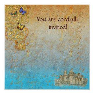 Cartão real do convite do castelo medieval do convite quadrado 13.35 x 13.35cm