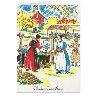 Cartão Receita da sopa do milho da galinha do Dutch de