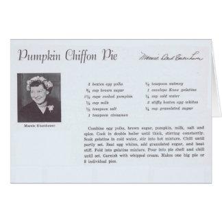 Cartão Receita da torta do Chiffon da abóbora de Mamie