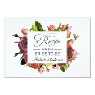 Cartão Receita floral do buquê cor-de-rosa