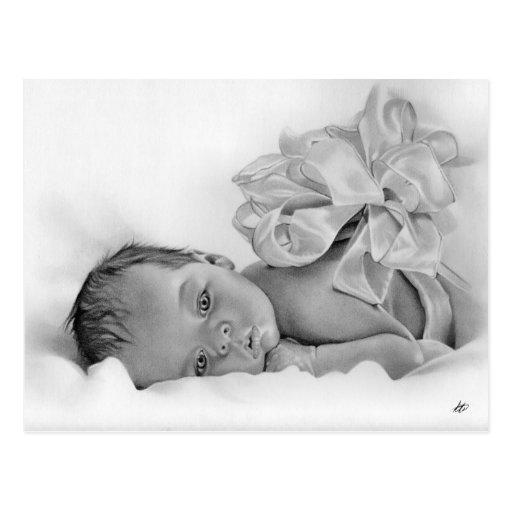 Cartão recém-nascido do presente do bebê cartoes postais