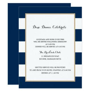 Cartão Recepção das listras e do ouro | de azuis marinhos