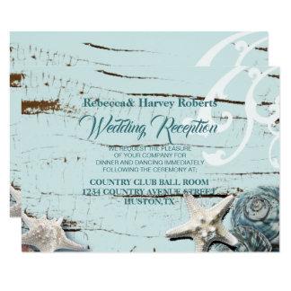Cartão recepção de casamento azul da praia do seashell do