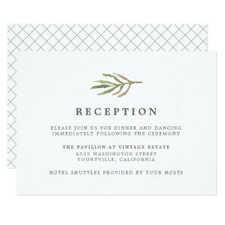 Cartão Recepção de casamento botânica da aguarela das