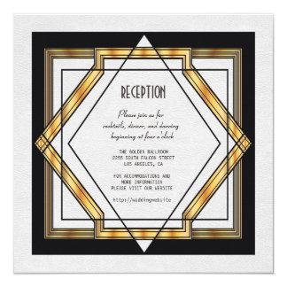 Cartão Recepção de casamento branca do art deco do grande