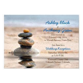 Cartão Recepção de casamento do destino da praia do