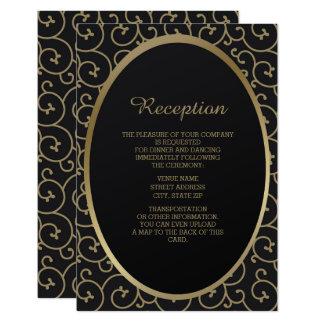 Cartão Recepção de casamento elegante do redemoinho do
