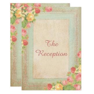 Cartão Recepção de casamento elegante dos rosas do