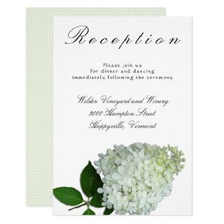 Cartão Recepção de casamento floral branca do Hydrangea
