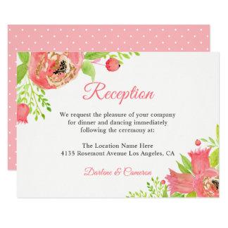 Cartão Recepção de casamento floral cor-de-rosa coral da