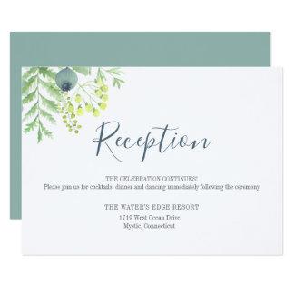 Cartão Recepção de casamento floral da baga do eucalipto