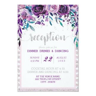 Cartão Recepção de casamento floral & de prata roxa