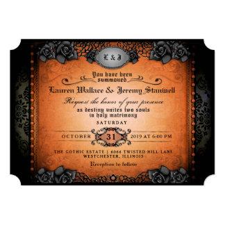 Cartão Recepção de casamento gótico preta alaranjada do