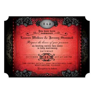 Cartão Recepção de casamento gótico vermelha & preta do