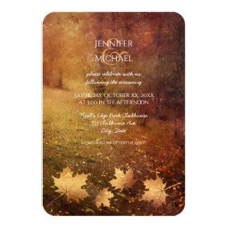 Cartão recepção de casamento rústica das folhas de bordo