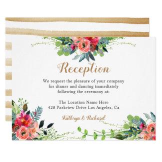 Cartão Recepção de casamento rústica do Wildflower do