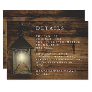 Cartão Recepção de madeira rústica do país da lanterna