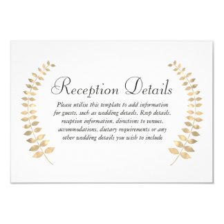 Cartão Recepção dourada da grinalda da folha do casamento