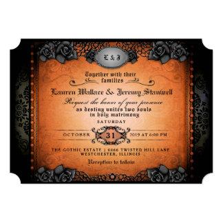 Cartão RECEPÇÃO gótico preta alaranjada do Dia das Bruxas