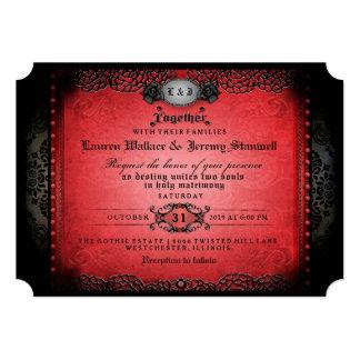 Cartão RECEPÇÃO gótico preta vermelha do Dia das Bruxas