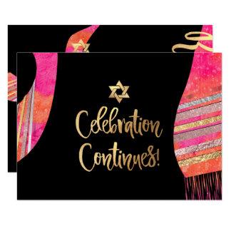 Cartão Recepção Mitzvah/aguarela cor-de-rosa de