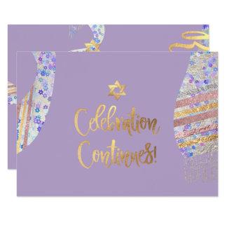 Cartão Recepção Mitzvah/aguarela roxa de PixDezines