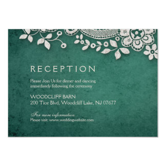 Cartão Recepção rústica do weddng do laço esmeralda do