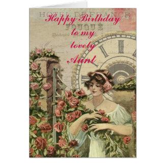 Cartão Recolectores cor-de-rosa do vintage