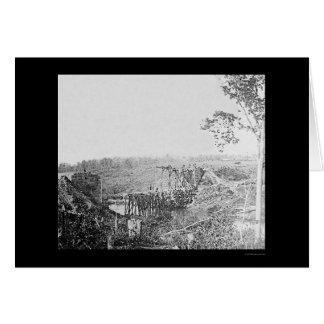 Cartão Reconstruindo a ponte da estrada de ferro sobre o