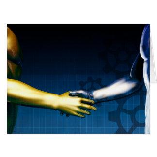 Cartão Rede da integração do negócio com as mãos que
