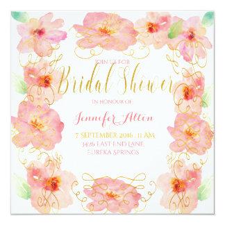 Cartão Redemoinho cor-de-rosa do ouro da flor - chá de