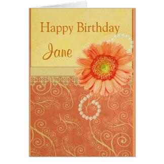 Cartão Redemoinhos do pêssego, flor, pérolas e uma fita