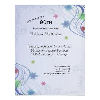 Cartão Redemoinhos elegantes do azul e Waterflowers