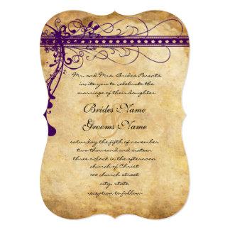 Cartão Redemoinhos elegantes Funky roxos do papel de