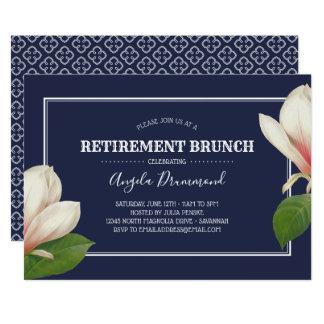 Cartão Refeição matinal azul da aposentadoria da magnólia