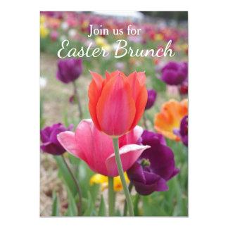 Cartão Refeição matinal da páscoa das tulipas do