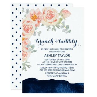 Cartão Refeição matinal floral e do marinho da aguarela e